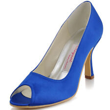 EP11017 Blue Women Peep Toe Party Pumps Stiletto High Heel Satin Wedding Shoes