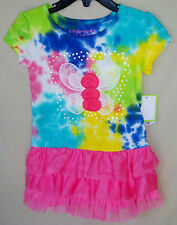 FLAPDOODLES Stretch Short Sleeve Splatter Tie Dye Dress GIRL SIZES NWT