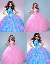 Princess Blue/Pink Beaded Quinceanera Dress Bridal Wedding Party Ball Prom Gowns