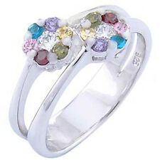 Sterling Silver 2 Multi-Colored Cz Flower Design Split Band Ring (99SMO93R0177)