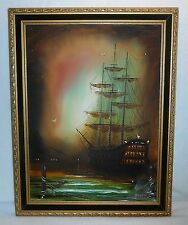 Vintage Oil Canvas Painting Seascape/Ship Signed Williams Beautiful Gilt Frame