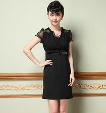 Womens Sumptuous Mesh sleeves Dresses Elegant Party Dress Charming Pretty