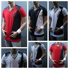 Men Stylish V-Neck T-Shirt Fashion Tee Casual Shirt Short Sleeve Zipper V-106