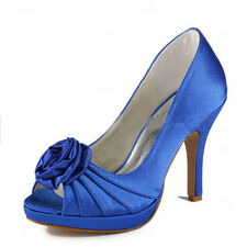 EP11043-PF Blue Satin Open Toe Flowers Heels Pumps Platform Wedding Party Shoes