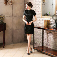 New Fashion Chinese Classic Silk Satin Flower Summer Cheongsam Dress  S-6XL