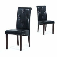 Tiffany Black Leather Dark Wood Finish Dining Room Furniture Side Chair Set Of 4