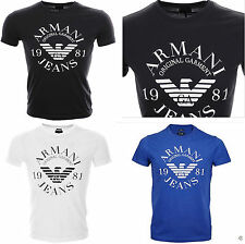 New Mens Uinsex Armani jeans t shirts tops emporior Logo T Shirt In Black, Slim