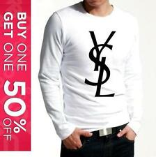 YVES SAINT LAURENT YSL PERFECT MENS LONG SLEEVE T-SHIRT WHITE / BLACK TOP LOGO