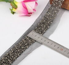 1pcs Black Beaded lace Trim Handmade With Imitation Pearl and Seed beads ZJA2394