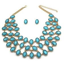 "17"" Adjustable Turquoise Colored 3 Layer Necklace W Matching Stud Earrings"