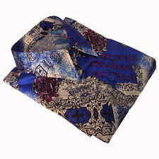 Mens Thai Silk Shirt Blue Floral Short Sleeve Casual Hawaiian S M L XL 2XL 3XL