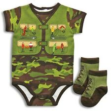 New Baby boy fishing clothes camouflage 2 piece set Bodysuit Socks 3 6 9 months