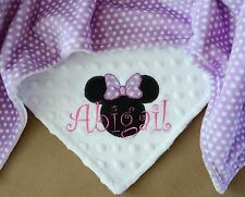 PERSONALIZED BABY BLANKET Mouse Girl Baby Gift Premium Plush & Minky Handmade