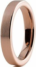 Tungsten Wedding Band Ring 4mm for Men Women Comfort Fit 18K Rose Gold Plated P