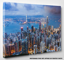 Large Hong Kong City Harbour Skyline Canvas Picture Print Wall Art A1 A2 A3