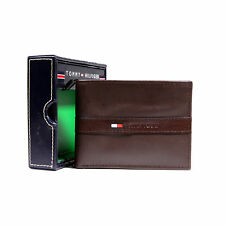New Tommy Hilfiger Leather Wallet Billfold Credit Card Passcase ID Black Brown