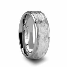 White Tungsten Ring with Raised Hammered Finish and Polished Step Edges - 8mm