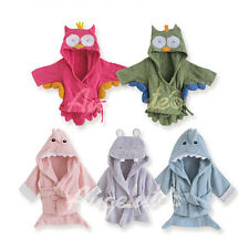 Baby Hooded Bathrobe Bath Towel Pajama Cotton Unisex 0-9M Owl/Shark/Hippo/Mouse