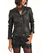 Jacket Leather Motorcycle S New Biker Black Coat Lambskin Womens Jackets WJ137