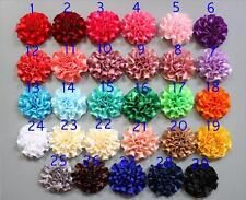 5/15/25 Pcs 50MM satin ribbon Peony Flower Appliques craft Wedding Sewing DIY UK
