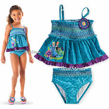 FROZEN ELSA ANNA TANKINI BLUE SWIMSUIT FOR GIRLS 2PC SZ 5/6 7/8 DISNEY STORE NEW