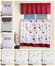 3 Piece White Embroidered Kitchen Curtain with Swag and Tier Window Curtains Set
