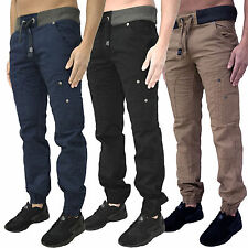 Mens Designer Rawcraft Cuffed Chinos Combat Cargo Pants Jogger Jeans Trousers