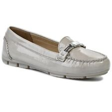 Geox Marva Women's UK 4 to 7.5 Grey Patent Leather Slip On Moccasin Loafer Shoes