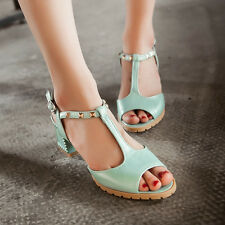 Chic T-strap Peep Toe Ladies Chunky Block Heels Rivets Studed Punk Gothic Shoes