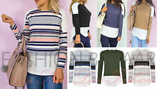 Womens Colour Block Pinstripe Contrast Shirt Tail Curved Hem Day To Night Top BN