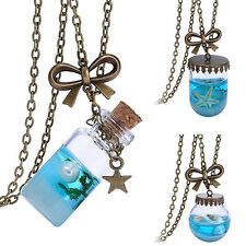 Novelty Sea Ocean Glass Bottle Pendant Mermaid Tears Shells Star Vial Necklace