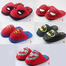 Super Hero Deadpool Spiderman Superman Batman Wonder Woman Plush Slipper OnePair
