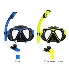 Adult Scuba Snorkeling Swimming Set Glass Diving Mask Goggles + Snorkel SP I6I2