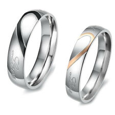 Sexy New Ring Titanium Steel Heart Couple Wedding Finger Band Matching Lovers r