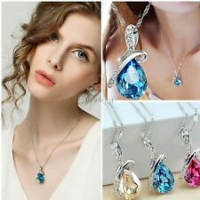 Fashion Women Crystal Rhinestone Silver Chain Pendant Necklace Jewelry Gifts NEW