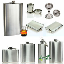 2 4 6 8 oz Stainless Steel Hip Flask Pocket Drink Whisky Liquor Vodka Holder