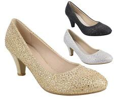 Womens Sparkly Diamante Mid Heel Party Prom Bridal Wedding Court Shoes Size 3-8