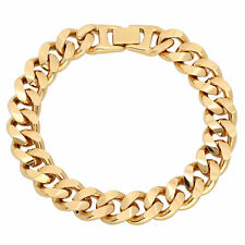 13mm Mens 14k Yellow Gold Plated/Layered/Plated Cuban Link Curb Bracelet