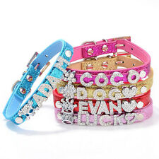 Bling DIY Personalized Dog Collar Customized Free Name Rhinestone Buckle Letter