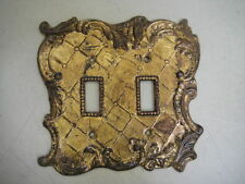 Double Switch Plate Set of 4 Antique GOld Florentine