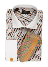 Dress Shirt by Steven Land Spread Collar  Rounded French Cuff-Orange-DW534-OR
