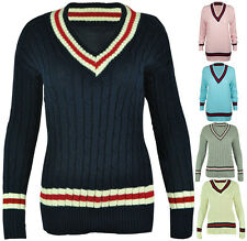 LADIES V NECK CABLE KNITTED CRICKET JUMPER WOMENS STRETCH LONG TOP SIZE 8-14