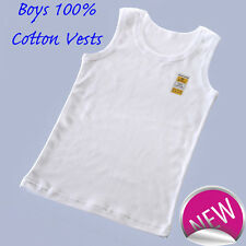 Three pack of Boys White pure cotton Vests Underwear Top Singlet