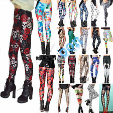 Womens Punk Print Skinny High Waisted Leggings Yoga Fitness Pants Sport Leggins