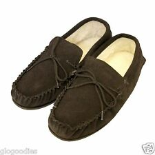 Unisex Soft Sole Tan Lambswool Moccasins - Mens & Ladies Slippers - Brown