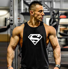 Gym Mens Superman Bodybuilding Tank Tops Clothing Fitness Sleeveless Muscle Fit