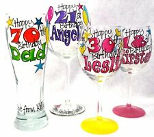 Birthday Glass Hand Painted Personalised Gift painted to order & gift boxed