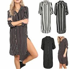 Womens Ladies Striped Collard Turn Up Long Sleeve Button Curved Hem HiLo Dress