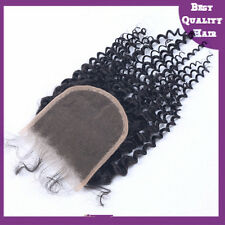 Lace Top Closure Kinky Curly Vingin Remy Brazilian Human Hair Extensions Black