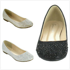 Brand New Women's Fashion Round Toe Rhinestone Glitter Slip On Ballet Flat Shoes